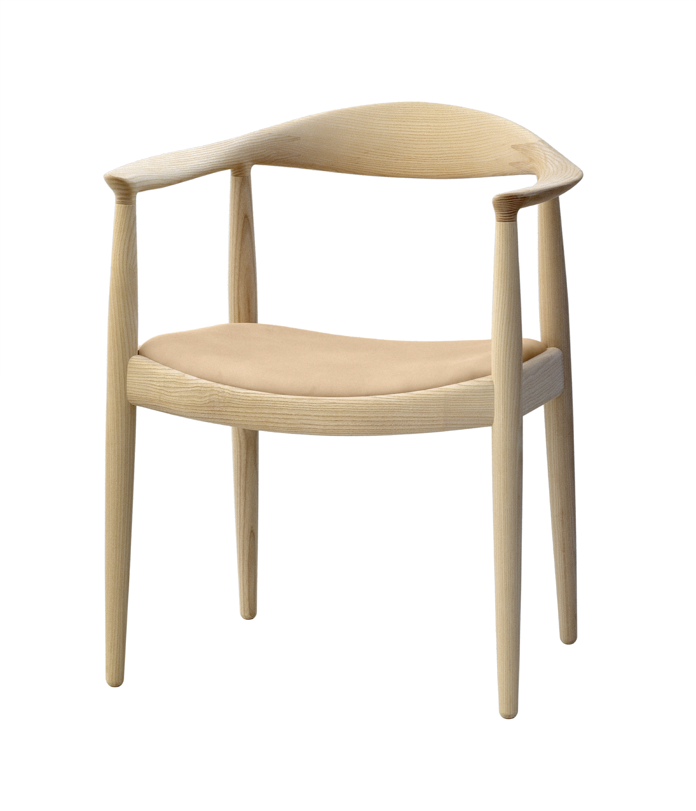 The chair round chair by hans wegner - The Chair Pp 503 By Hans Wegner In Ash With Vegetal Leather Seat